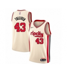Men's Portland Trail Blazers #43 Anthony Tolliver Swingman Cream Basketball Jersey - 2019 20 City Edition
