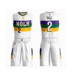 Men's New Orleans Pelicans #2 Lonzo Ball Swingman White Basketball Suit Jersey - City Edition