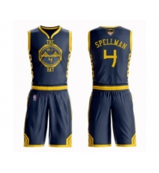 Youth Golden State Warriors #4 Omari Spellman Swingman Navy Blue Basketball Suit Jersey - City Edition