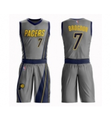 Youth Indiana Pacers #7 Malcolm Brogdon Swingman Gray Basketball Suit Jersey - City Edition