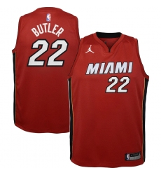 Youth Miami Heat #22 Jimmy Butler Jordan Brand Red 2020-21 Swingman Player Jersey