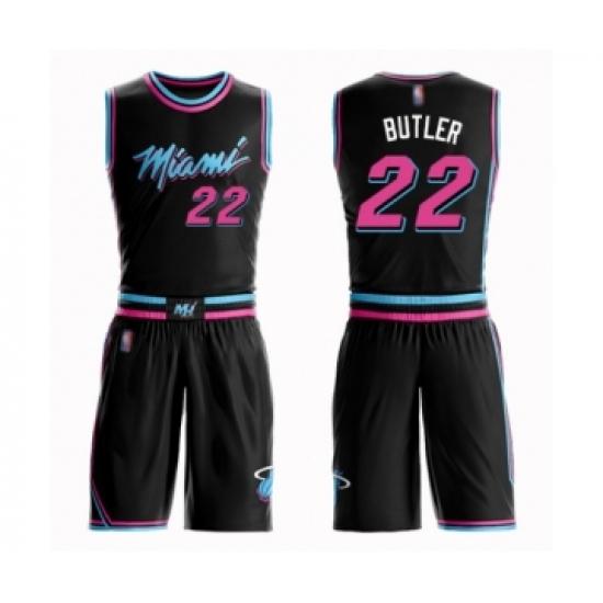 Youth Miami Heat #22 Jimmy Butler Swingman Black Basketball Suit Jersey - City Edition