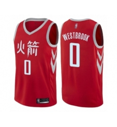 Men's Houston Rockets #0 Russell Westbrook Authentic Red Basketball Jersey - City Edition