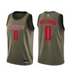 Men's Houston Rockets #0 Russell Westbrook Swingman Green Salute to Service Basketball Jersey