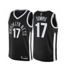 Men's Brooklyn Nets #17 Garrett Temple Authentic Black Basketball Jersey - City Edition