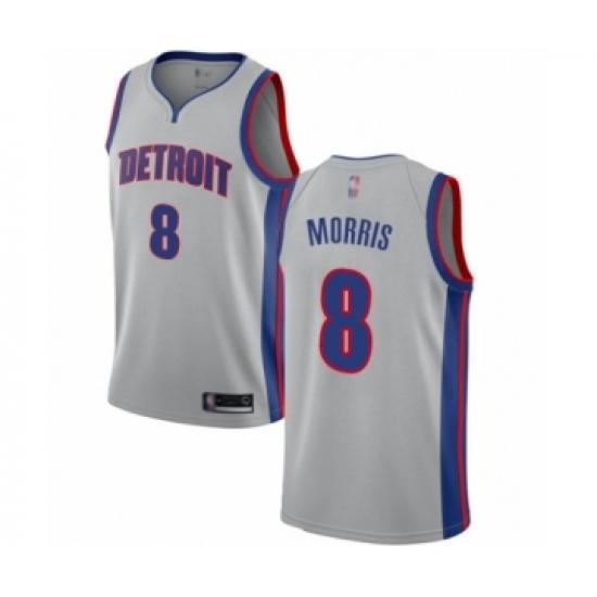 Men's Detroit Pistons #8 Markieff Morris Authentic Silver Basketball Jersey Statement Edition