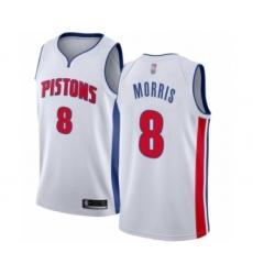 Women's Detroit Pistons #8 Markieff Morris Authentic White Basketball Jersey - Association Edition