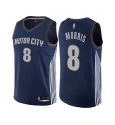 Women's Detroit Pistons #8 Markieff Morris Swingman Navy Blue Basketball Jersey - City Edition