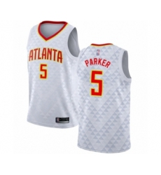 Men's Atlanta Hawks #5 Jabari Parker Authentic White Basketball Jersey - Association Edition