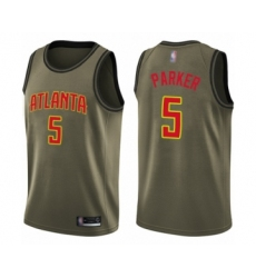 Men's Atlanta Hawks #5 Jabari Parker Swingman Green Salute to Service Basketball Jersey