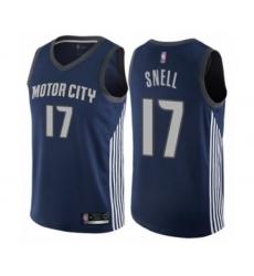 Men's Detroit Pistons #17 Tony Snell Authentic Navy Blue Basketball Jersey - City Edition