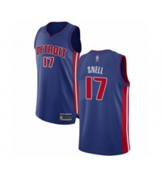 Men's Detroit Pistons #17 Tony Snell Authentic Royal Blue Basketball Jersey - Icon Edition