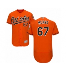 Men's Baltimore Orioles #67 John Means Orange Alternate Flex Base Authentic Collection Baseball Jersey