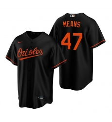 Men's Nike Baltimore Orioles #47 John Means Black Alternate Stitched Baseball Jersey
