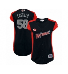 Women's Cincinnati Reds #58 Luis Castillo Authentic Navy Blue National League 2019 Baseball All-Star Jersey