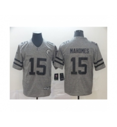 Men's Kansas City Chiefs #15 Patrick Mahomes Limited Gray Rush Gridiron Football Jersey