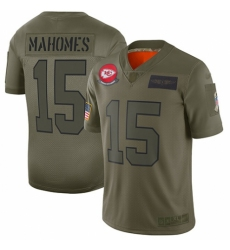 Youth Kansas City Chiefs #15 Patrick Mahomes Limited Camo 2019 Salute to Service Football Jersey