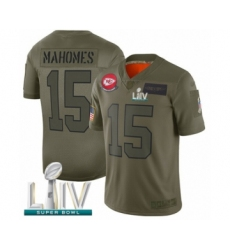 Youth Kansas City Chiefs #15 Patrick Mahomes Limited Olive 2019 Salute to Service Super Bowl LIV Bound Football Jersey