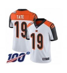 Men's Cincinnati Bengals #19 Auden Tate White Vapor Untouchable Limited Player 100th Season Football Jersey