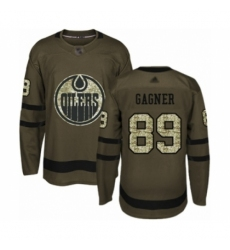 Men's Edmonton Oilers #89 Sam Gagner Authentic Green Salute to Service Hockey Jersey