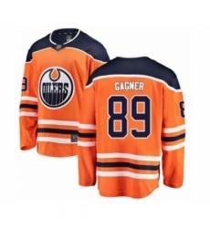 Men's Edmonton Oilers #89 Sam Gagner Authentic Orange Home Fanatics Branded Breakaway Hockey Jersey