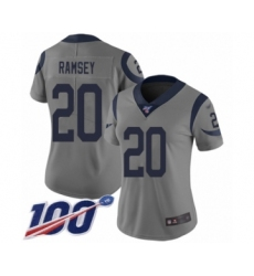 Women's Los Angeles Rams #20 Jalen Ramsey Limited Gray Inverted Legend 100th Season Football Jersey
