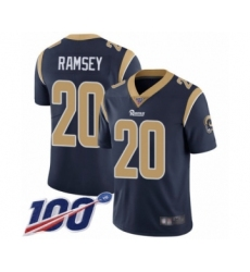 Youth Los Angeles Rams #20 Jalen Ramsey Navy Blue Team Color Vapor Untouchable Limited Player 100th Season Football Jersey