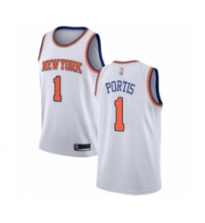 Men's New York Knicks #1 Bobby Portis Authentic White Basketball Jersey - Association Edition