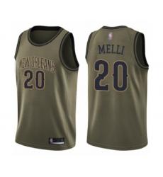 Men's New Orleans Pelicans #20 Nicolo Melli Swingman Green Salute to Service Basketball Jersey