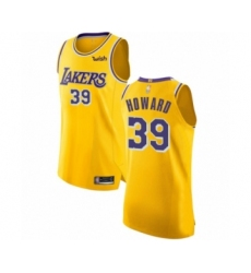 Men's Los Angeles Lakers #39 Dwight Howard Authentic Gold Basketball Jersey - Icon Edition