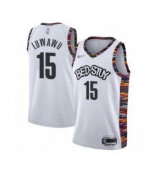 Men's Brooklyn Nets #15 Timothe Luwawu Swingman White Basketball Jersey - 2019 20 City Edition