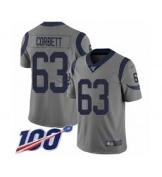 Men's Los Angeles Rams #63 Austin Corbett Limited Gray Inverted Legend 100th Season Football Jersey