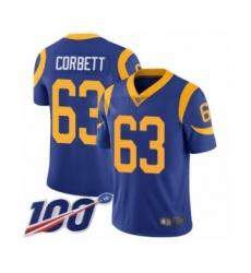 Men's Los Angeles Rams #63 Austin Corbett Royal Blue Alternate Vapor Untouchable Limited Player 100th Season Football Jersey