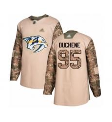 Men's Nashville Predators #95 Matt Duchene Authentic Camo Veterans Day Practice Hockey Jersey