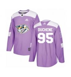 Men's Nashville Predators #95 Matt Duchene Authentic Purple Fights Cancer Practice Hockey Jersey