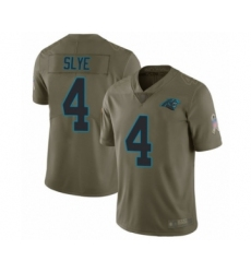 Men's Carolina Panthers #4 Joey Slye Limited Olive 2017 Salute to Service Football Jersey