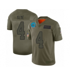 Men's Carolina Panthers #4 Joey Slye Limited Olive 2019 Salute to Service Football Jersey