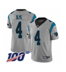 Men's Carolina Panthers #4 Joey Slye Silver Inverted Legend Limited 100th Season Football Jersey