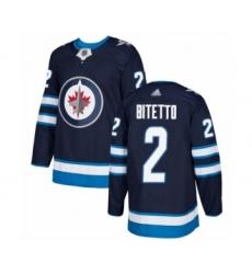 Men's Winnipeg Jets #2 Anthony Bitetto Authentic Navy Blue Home Hockey Jersey