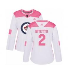Women's Winnipeg Jets #2 Anthony Bitetto Authentic White Pink Fashion Hockey Jersey
