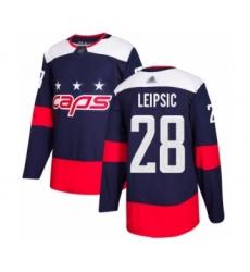 Men's Washington Capitals #28 Brendan Leipsic Authentic Navy Blue 2018 Stadium Series Hockey Jersey
