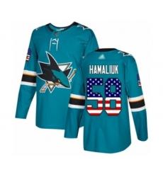 Men's San Jose Sharks #58 Dillon Hamaliuk Authentic Teal Green USA Flag Fashion Hockey Jersey