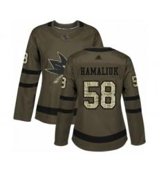 Women's San Jose Sharks #58 Dillon Hamaliuk Authentic Green Salute to Service Hockey Jersey
