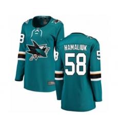 Women's San Jose Sharks #58 Dillon Hamaliuk Fanatics Branded Teal Green Home Breakaway Hockey Jersey