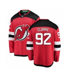 Men's New Jersey Devils #92 Graeme Clarke Fanatics Branded Red Home Breakaway Hockey Jersey