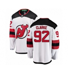 Men's New Jersey Devils #92 Graeme Clarke Fanatics Branded White Away Breakaway Hockey Jersey