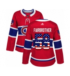 Women's Montreal Canadiens #59 Gianni Fairbrother Authentic Red USA Flag Fashion Hockey Jersey