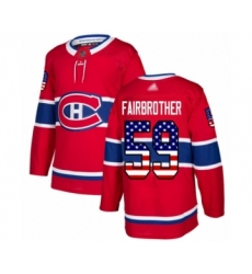 Youth Montreal Canadiens #59 Gianni Fairbrother Authentic Red USA Flag Fashion Hockey Jersey