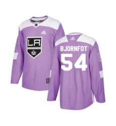 Youth Los Angeles Kings #54 Tobias Bjornfot Authentic Purple Fights Cancer Practice Hockey Jersey