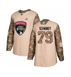 Men's Florida Panthers #79 Cole Schwindt Authentic Camo Veterans Day Practice Hockey Jersey